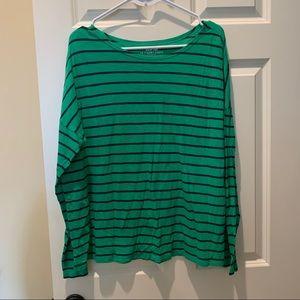Gap Long Sleeve Striped Tee Green Navy XL